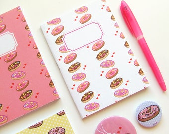 Donuts Pattern Journal - Pocket size Notebook -Polka Dot - Blank pages