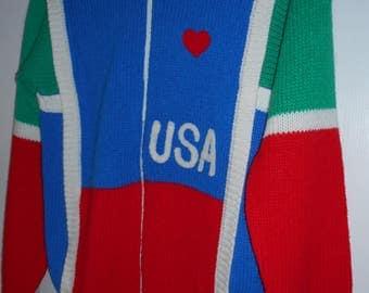 Vintage USA Cardigan Sweater Eclipse Large 1980's Acrylic Patriotic