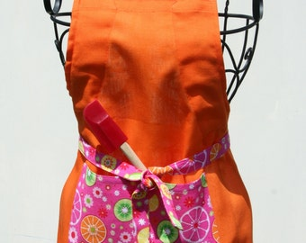 Little Chef Orange apron with fruitilicious accent Adjustable strap