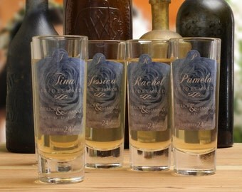 Shot Glasses // 4 Personalized Shot Glasses for your Bridesmaids or Maid of Honor
