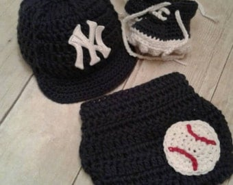 New York Yankees inspired baseball hat diaper cover and cleats photography prop boy or girl pink or blue