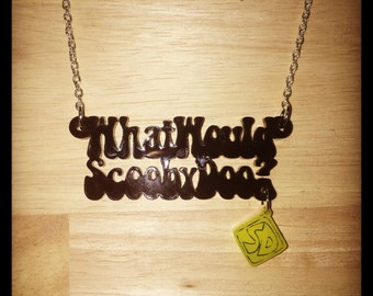 Scooby Doo Inspired What Would Scooby Doo? Acrylic Necklace With Charm
