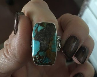 Blue Copper Santa Rosa Vintage Turquoise Sterling Silver Ring