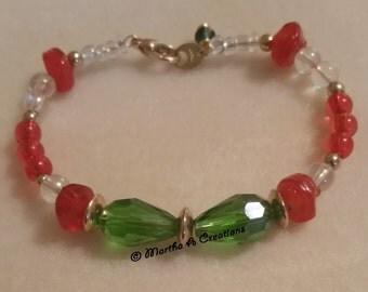 Red, Green, Gold Bracelet