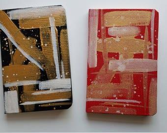 Abstract hand painted Journal, Mini Notebook, Paper Notebook, Gifts under 10, Teacher Gifts, Kids Journal, Pocket Journal abstract blue gold