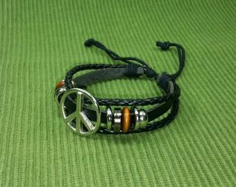 Black Peace Bracelet - Silver Tone Peace Sign Bracelet - Black Leather Bracelet -Peace and Love Bracelet-Black Braid Bracelet Peace Symbol