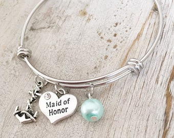 Maid of Honor Bracelet - Maid of Honor Gift - Wedding Bracelet - Bridal Party Bracelet - Bridesmaid Jewelry - Beach Theme Wedding - Bridal