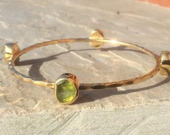 Raw Gemstone Bangle, Raw Stone Gold Vermeil Bangle, Raw Peridot Gold Bangle, Rough Peridot Gemstone, Four Stone Gold Bangle With Stones