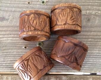 Set of 4 Vintage Carved Wood Napkin Rings