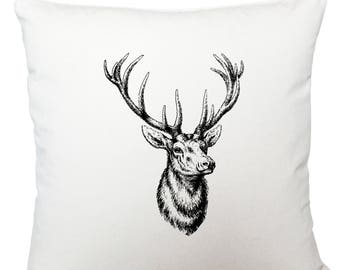 Stag head cushion cover, scatter cushion, throw cushion, white cushion