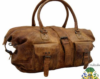 Travel bag - Weekender ERIKSSON made of brown leather - BARON of MALTZAHN