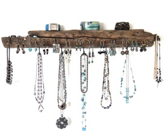 Rustic Driftwood Jewelry Organizer, Driftwood Earring Holder, Driftwood Necklace Hanger, Necklace Rack, Driftwood Jewelry Display