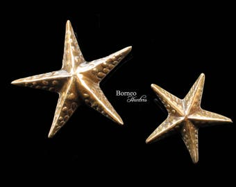 "Marine Elegance:Brass Starfish Sculptures 6 & 4.1"" For A Charming Addition To Any Home (Set Of Two)Nautical Beach Coastal Island/Beach House"