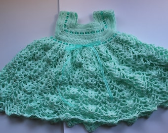 Mint Green Crochet Baby Dress, 6-12 months