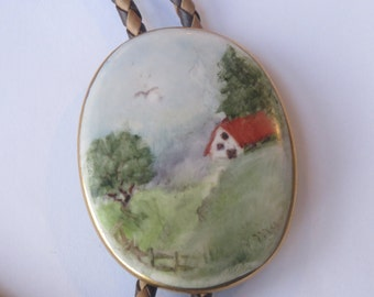 Hand Painted Signed Farmhouse Barn  in Woods on Porcelain  Bolo Tie IC  Lot 6