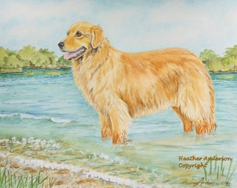 "4 Golden Retriever Greeting Cards, w/envelopes, ""Golden Lake""  5 1/2"" x 4 1/4""  Heather Anderson canine artist"