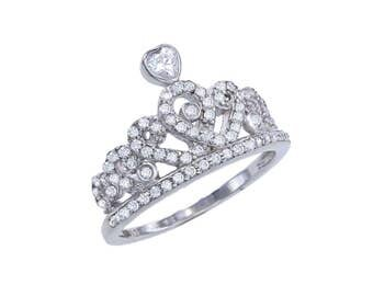 925 Sterling Silver Crown Ring,Silver Heart Ring,Sterling Silver Heart Ring,Pave Tiara Ring