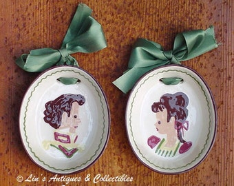 Vintage California Pottery Cleminson Pottery Pair of Vintage Wall Plaques at Lin's Antiques and Collectibles (Inventory #M2029)
