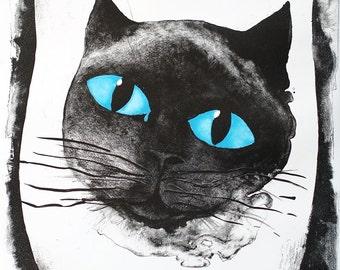I love you my dear Xian Koducheva,Original drowing,cat,cats,pets,Art,incarnation,14x20inch Giclee Print,black,ink,lito,litography,stone,love