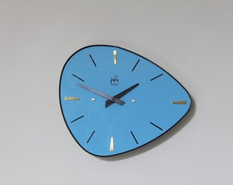 Vintage French Wall Clock Mint Green Formica Mid By