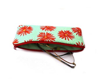 Glasses case, eyeglass sleeve, reading glasses case, case for spare glasses, fabric eyeglass case, cotton, turquoise, coral red, flowers