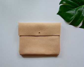 Handmade Natural Leather Large Clutch