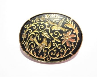 Vintage Oval Damascene Brooch Bird and Flower