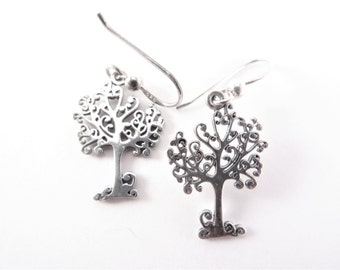 Vintage Sterling Tree Dangle Earrings Wire Hook