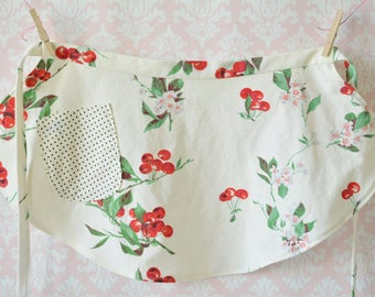 Cherry Picking on a Sunday Apron - Vintage Cherries Half Apron, Women, Vintage