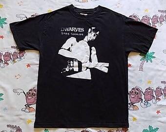 Vintage 90's The Dwarves Free Cocaine T shirt, size Medium 1999 album promo Recess Records punk OOP