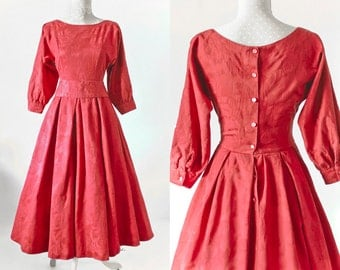 SALE Laura Ashley Vintage Red Ballgown Dress • 50s Style Occasion Dress • 80s Brocade Formal Dress with Sleeves • Romantic Princess Dress. S
