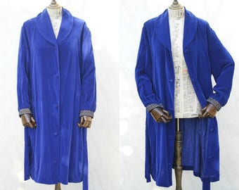 Vintage House Coat • 20s Style Velvet Robe • Dressing Gown Women • Royal Blue • Boudoir Loungewear • Cover Up • 60s Clothing • Sleepwear.