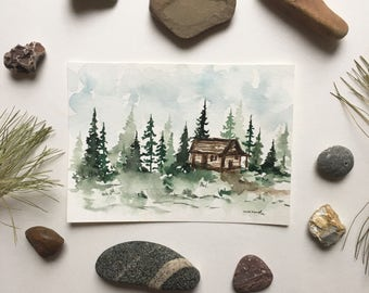 Cabin - 5x7 watercolor painting