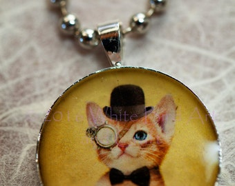 Steampunk Cat Ice Resin Pendant with Ball-chain Necklace