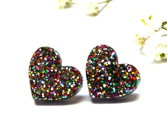 Glitter Heart Earrings · I Heart You · Rainbow Glitter Heart Earrings · 13mm