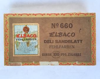 Wooden Cigar Box Elbaco Cigars German Manufacturer, Old wood cigar box with labels seals vintage advertising Brasil Brazil Antique