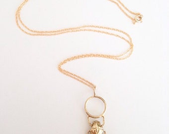 """Scarab beetle pendant necklace / brass beetle & gold fill 24"""" chain"""
