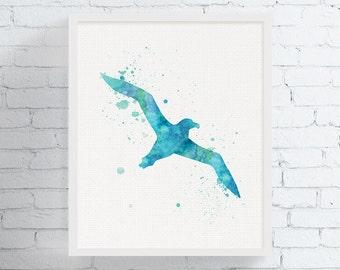 Albatross Watercolor, Albatross Art, Albatross Print, Bird Wall Art, Sea Bird Art Print, Nautical Wall Art, Coastal Decor, Watercolor Bird