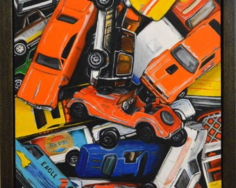 Original Painting in Handcrafted Frame - Vintage Toy Cars - Car Toys Matchbox Hot Wheels Acrylic Small Realism Photorealism Contemporary Art