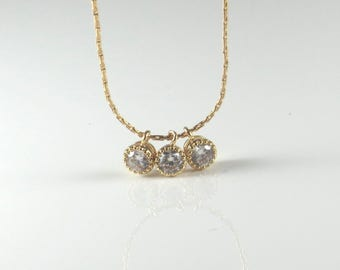Gold cubic zircon necklace , gold filled CZ triple charm necklace , diamond necklace , delicate gold zircon necklace