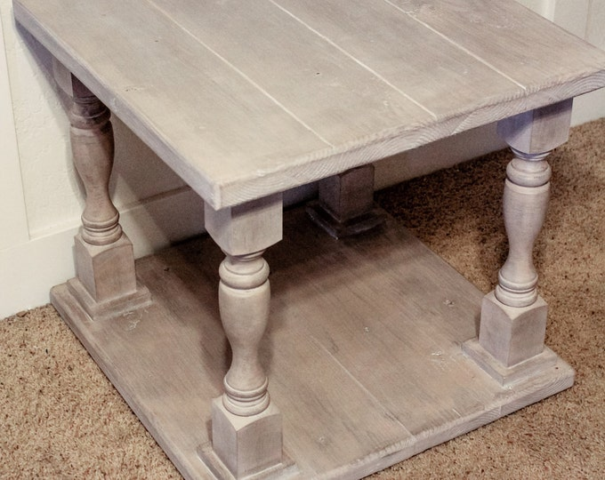 Balustrade End Table, Rustic End Table, Handmade in Oklahoma