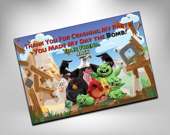 Angry Birds, Angry Birds Birthday, Thank You, Favor Tags, Favor Bags, Thank You Note, Thank you Cards, Angry Birds Party