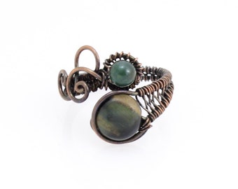 Copper Ring, Green Stone. Wire Wrapped, Copper Ring, Bohemian Ring, Copper Swirls, Wire Weaving, Bohemian Fashion, Gypsy Ring, Eclectic