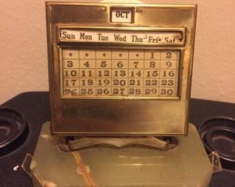 Vintage Perpetual Calendar w/Marble Base