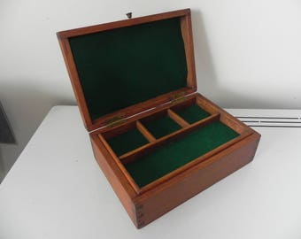 vintage hand made pinewood hinged lid box with separate compartments