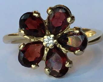 Vintage Garnet Ring. Floral Setting. Diamond Accent. 14K Yellow Gold. January Birthstone. Unique Engagement Ring. 2 Year Anniversary. Estate
