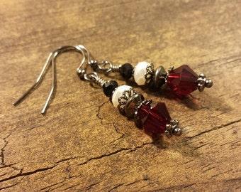 Red Earrings, Victorian Earrings, Crystal Earrings, Boho Earrings, Drop Earrings, Dangle Earrings