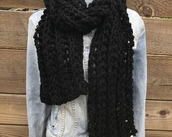 Scarf, black scarf, chunky black scarf, long scarf