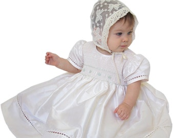 Baby Girls Heirloom Ivory Silk Dress for Special Occasions, Christening Baptism and church, size 12 and 24 m. Hand Smocked.  HURRY   18034