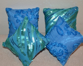 "America Doll Pillows (4) -- Turquoise Sequins / Blue Ribbon - fits 18"" dolls - FREE SHIPPING -- Doll Furniture"